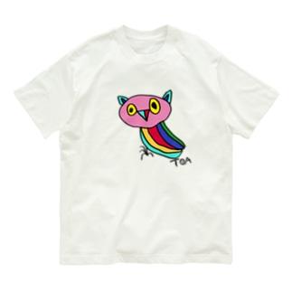 カラフルみみずくちゃん Organic Cotton T-shirts