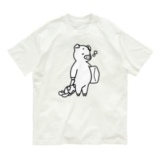 そろそろ寝るブタ Organic Cotton T-shirts
