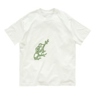 isay-t(文鳥/雀/sparrow/野鳥/カエル/frog/蛙/爬虫類/カメ/キンカチョウなど)のオテカエル(緑のシルエット) Organic Cotton T-shirts