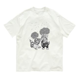 もけけ工房 SUZURI店のモノクロあんずとすもも Organic Cotton T-shirts