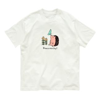 ハリネズミの「良い1日を!」 Organic Cotton T-shirts
