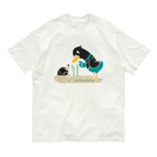 CT159 ネギを値切っている鴨カモ*B*白フチなし*大きいイラスト Organic Cotton T-Shirt