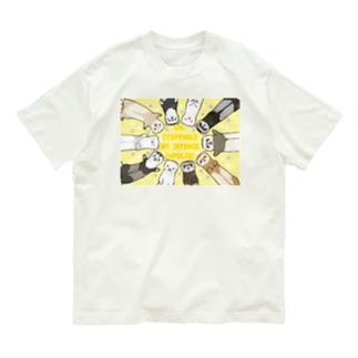 フェレット宣言! 横デザイン(イエロー) Organic Cotton T-shirts