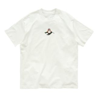 キンカチョウと葉っぱ Organic Cotton T-shirts