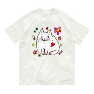 にこにこ白にゃんこ Organic Cotton T-shirts