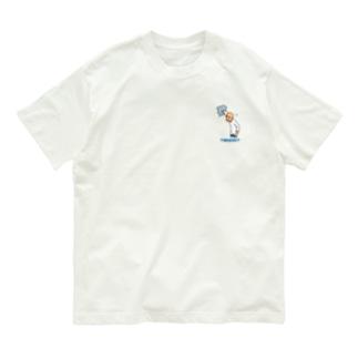どこメガネTシャツ ブルー Organic Cotton T-shirts