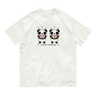 CT168 TWIN PANDAS 一緒のスイカ Organic Cotton T-shirts