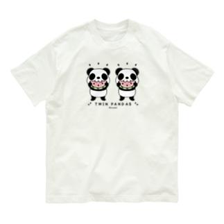 CT168 TWIN PANDAS 一緒のスイカ Organic Cotton T-Shirt