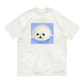 ベビーアザラシ背景あり Organic Cotton T-Shirt