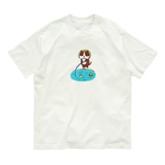 釣りする犬 Organic Cotton T-Shirt