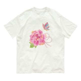 牡丹に蝶+色水引 Organic Cotton T-shirts
