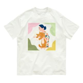 猫を抱えるひと Organic Cotton T-shirts