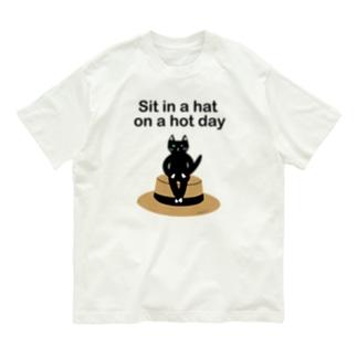 クロ、帽子に座る Organic Cotton T-shirts