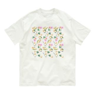 たっぷりシロハラインコちゃん【まめるりはことり】 Organic Cotton T-shirts