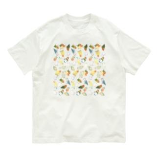 たっぷりラブバード(コザクラインコ・ボタンインコ)ちゃん【まめるりはことり】 Organic Cotton T-shirts