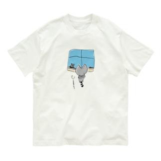 灰色猫と窓 背景なし Organic Cotton T-Shirt