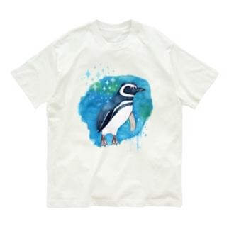 マゼランペンギンと青 Organic Cotton T-Shirt