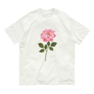 ピンクのバラ Pink Rose 01 Organic Cotton T-Shirt