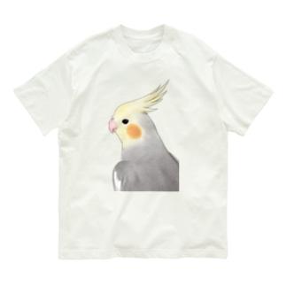 見つめるオカメインコちゃん【まめるりはことり】 Organic Cotton T-shirts