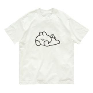 寝そべりうさちゃんハムちゃん Organic Cotton T-shirts