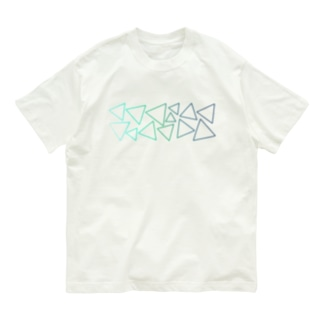 緑色のグラデーションの三角形 Organic Cotton T-shirts