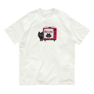黒猫のテレビに出るにゃー*M配置 Organic Cotton T-Shirt