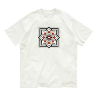 モロッカンに憧れるタイル柄・ブラック×オレンジ Organic Cotton T-shirts