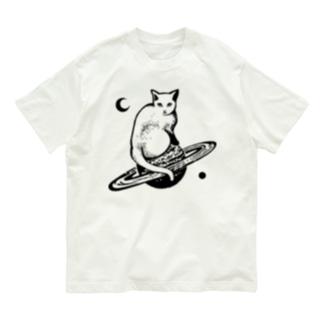 スペースキャット 黒線 Organic Cotton T-shirts