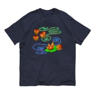 ホオズキ 水紋背景(和柄) Organic Cotton T-shirts
