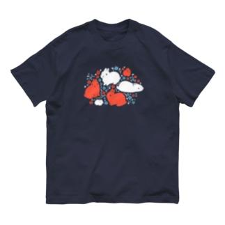 花と葉と茎と兎 Organic Cotton T-shirts