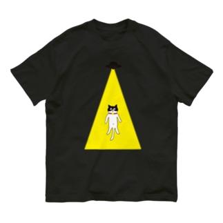 UFOに連れていかれるハチワレ猫 Organic Cotton T-shirts