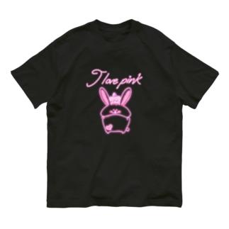 《ネオンシリーズ》*I love pink*うさぎ* Organic Cotton T-shirts
