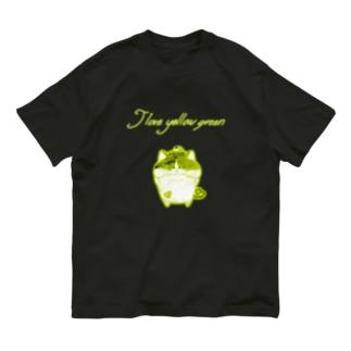 《ネオンシリーズ》*I love yellow green*みけ* Organic Cotton T-shirts