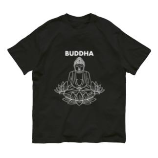 BUDDHA-仏像- 白ロゴ Organic Cotton T-Shirt