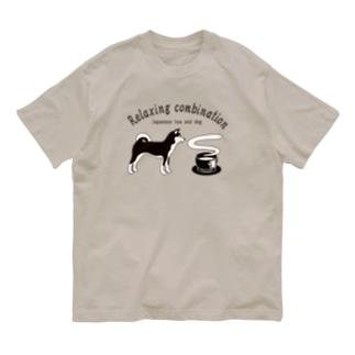日本の犬とお茶 Organic Cotton T-shirts