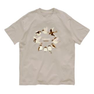 スズメさん、いつもお会いしますね Organic Cotton T-shirts