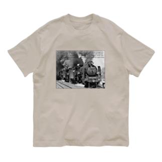 D51形蒸気機関車1号機を先頭とする三重連 (モノクロフォト) Organic Cotton T-Shirt