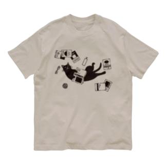 読書ねこ(黒) Organic Cotton T-shirts