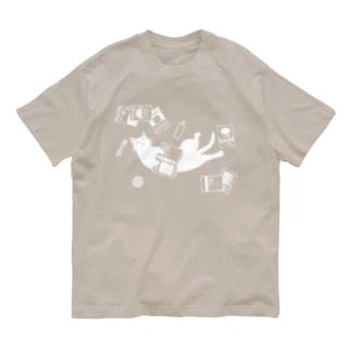 読書ねこ(白) Organic Cotton T-shirts