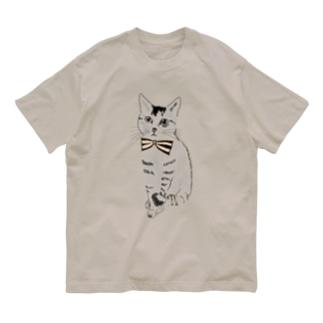 蝶ネクタイとネコ Organic Cotton T-shirts