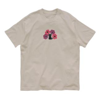 黒猫とアネモネ Organic Cotton T-shirts