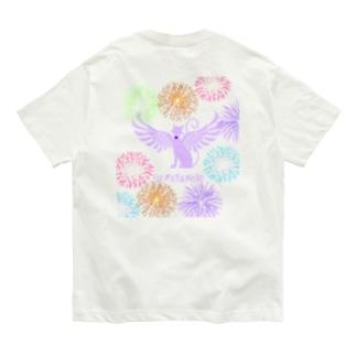 貓羽ちゃん花火T ホワイト Organic Cotton T-shirts