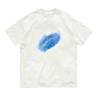 いきものイラスト(シロナガスクジラ) Organic Cotton T-Shirt