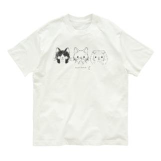 見ニャい、言わニャい、聞かニャい(黒線) Organic Cotton T-shirts