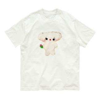 チューリップを持ったぎょーさわくん(型抜き) Organic Cotton T-shirts