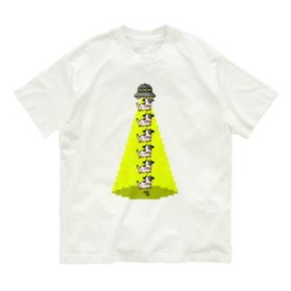 UFOと牛縦型 Organic Cotton T-Shirt