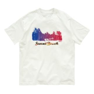SunsetBeachロゴプリントTシャツ Organic Cotton T-shirts