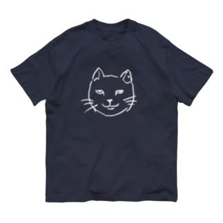 ニヒルな白猫  Organic Cotton T-shirts