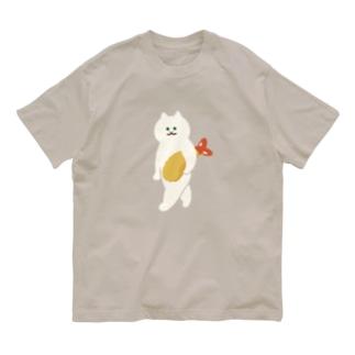 SUIMINグッズのお店の【大】エビフライをさわやかに持ち運ぶ猫 Organic Cotton T-shirts