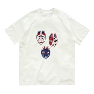 【日本レトロ#22】狐面 Organic Cotton T-shirts